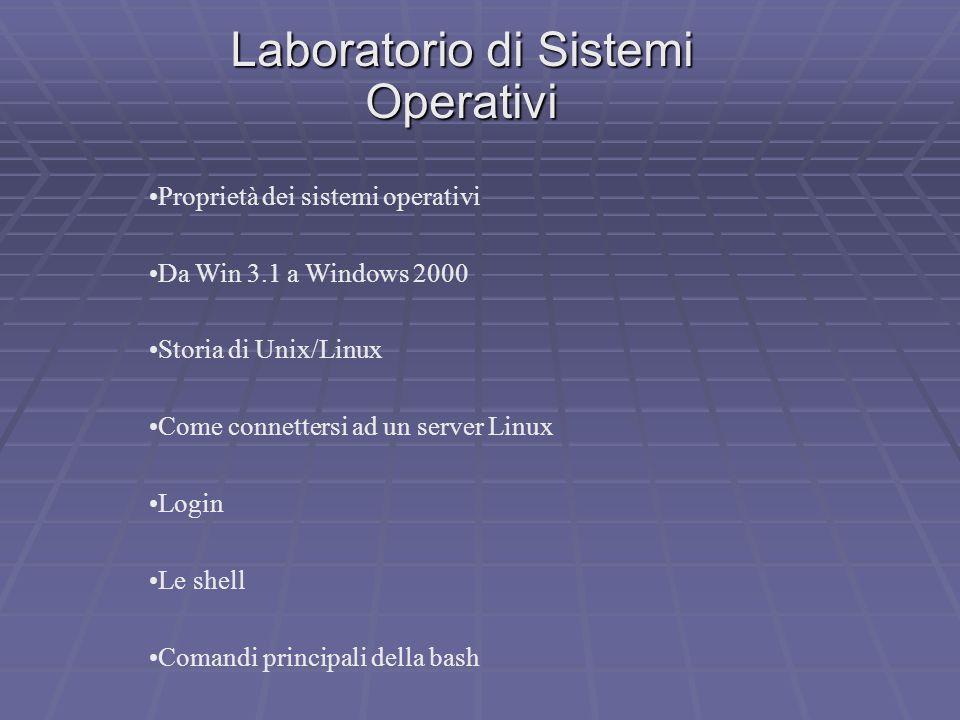 Laboratorio di Sistemi Operativi Proprietà dei sistemi operativi Da Win 3.1 a Windows 2000 Storia di Unix/Linux Come connettersi ad un server Linux Lo
