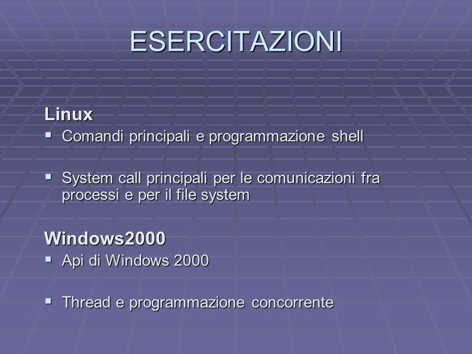 ESERCITAZIONI Linux Comandi principali e programmazione shell Comandi principali e programmazione shell System call principali per le comunicazioni fra processi e per il file system System call principali per le comunicazioni fra processi e per il file systemWindows2000 Api di Windows 2000 Api di Windows 2000 Thread e programmazione concorrente Thread e programmazione concorrente