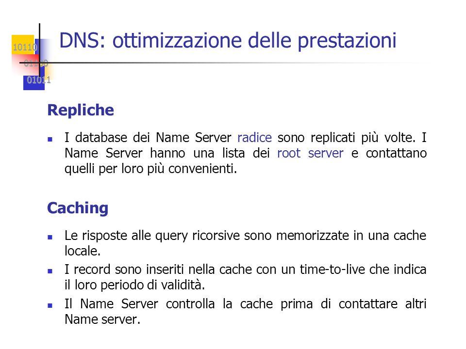 10110 01100 01100 01011 01011 DNS: ottimizzazione delle prestazioni Repliche I database dei Name Server radice sono replicati più volte. I Name Server