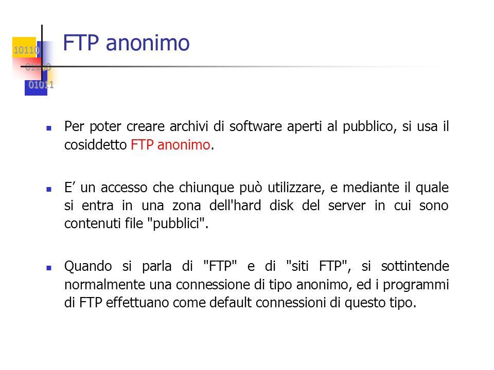 10110 01100 01100 01011 01011 FTP anonimo Per poter creare archivi di software aperti al pubblico, si usa il cosiddetto FTP anonimo. E un accesso che