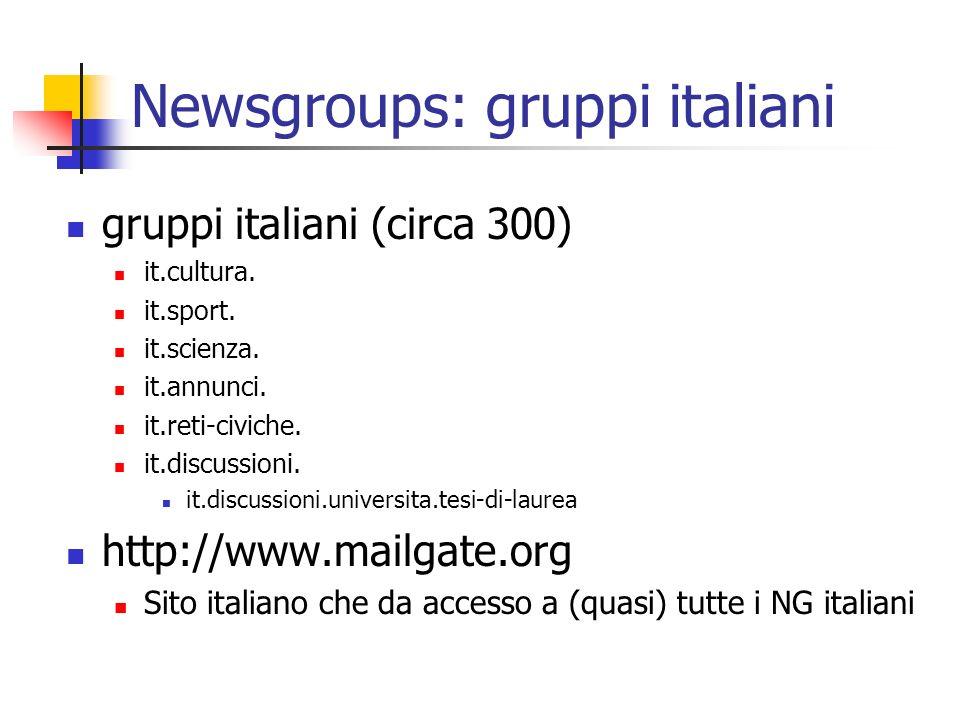 Newsgroups: gruppi italiani gruppi italiani (circa 300) it.cultura. it.sport. it.scienza. it.annunci. it.reti-civiche. it.discussioni. it.discussioni.