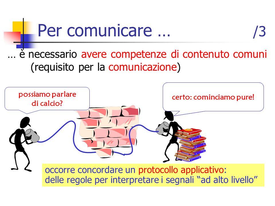 … è necessario avere competenze di contenuto comuni (requisito per la comunicazione) Per comunicare … /3 occorre concordare un protocollo applicativo: