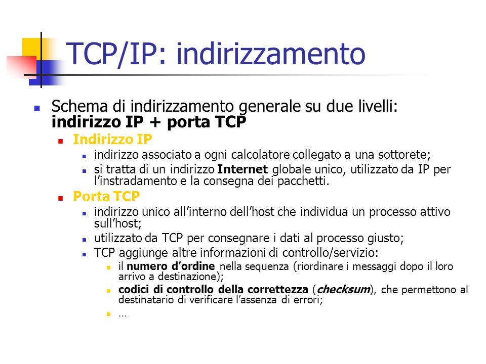 TCP/IP: indirizzamento Schema di indirizzamento generale su due livelli: indirizzo IP + porta TCP Indirizzo IP indirizzo associato a ogni calcolatore