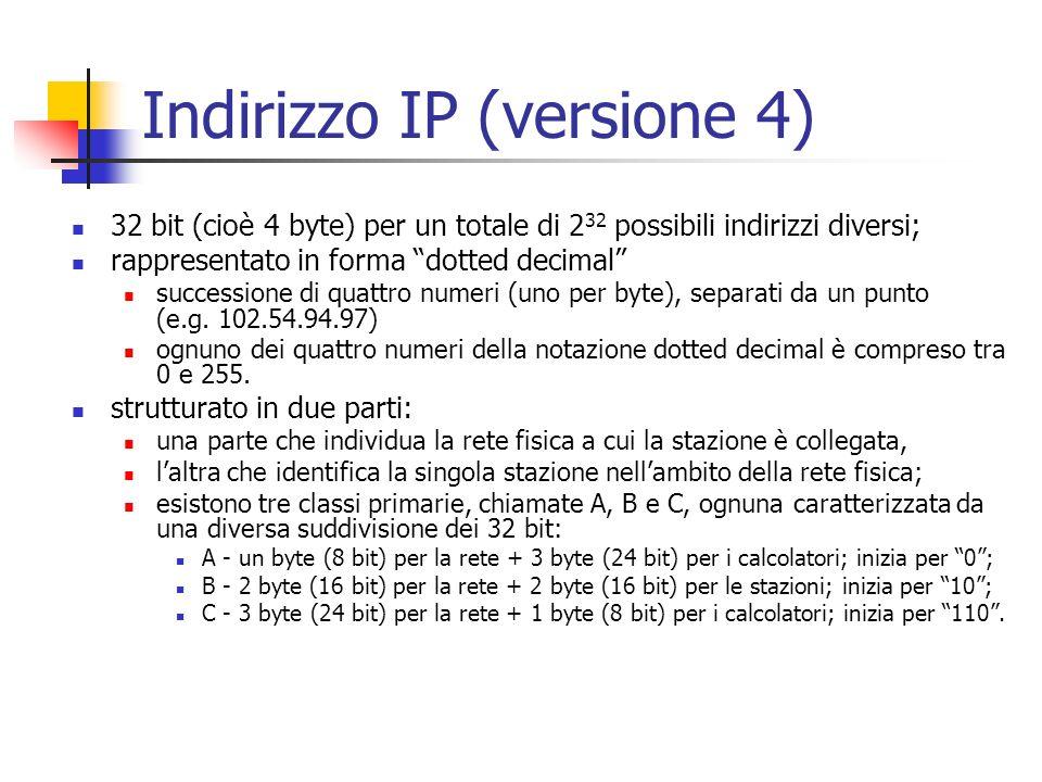 Indirizzo IP (versione 4) 32 bit (cioè 4 byte) per un totale di 2 32 possibili indirizzi diversi; rappresentato in forma dotted decimal successione di
