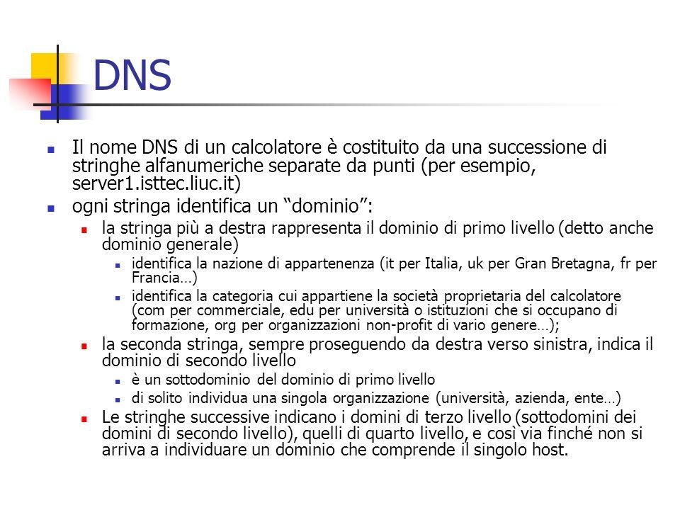 DNS Il nome DNS di un calcolatore è costituito da una successione di stringhe alfanumeriche separate da punti (per esempio, server1.isttec.liuc.it) og