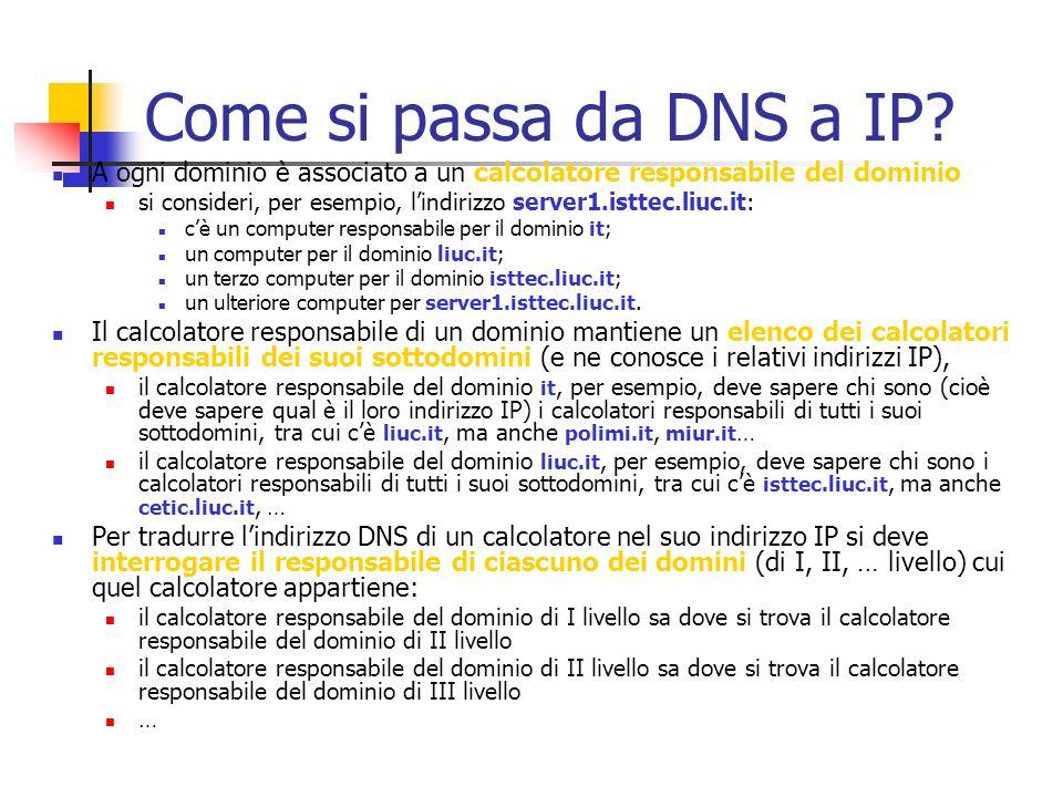 Come si passa da DNS a IP? A ogni dominio è associato a un calcolatore responsabile del dominio si consideri, per esempio, lindirizzo server1.isttec.l