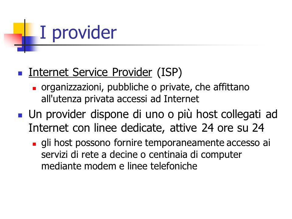 I provider Internet Service Provider (ISP) organizzazioni, pubbliche o private, che affittano all'utenza privata accessi ad Internet Un provider dispo