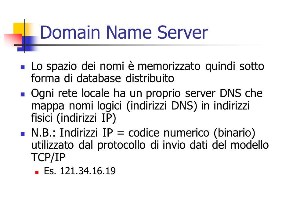 Domain Name Server Lo spazio dei nomi è memorizzato quindi sotto forma di database distribuito Ogni rete locale ha un proprio server DNS che mappa nom