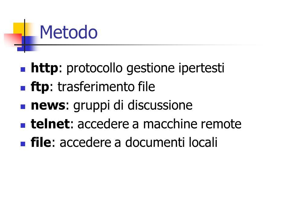 Metodo http: protocollo gestione ipertesti ftp: trasferimento file news: gruppi di discussione telnet: accedere a macchine remote file: accedere a doc