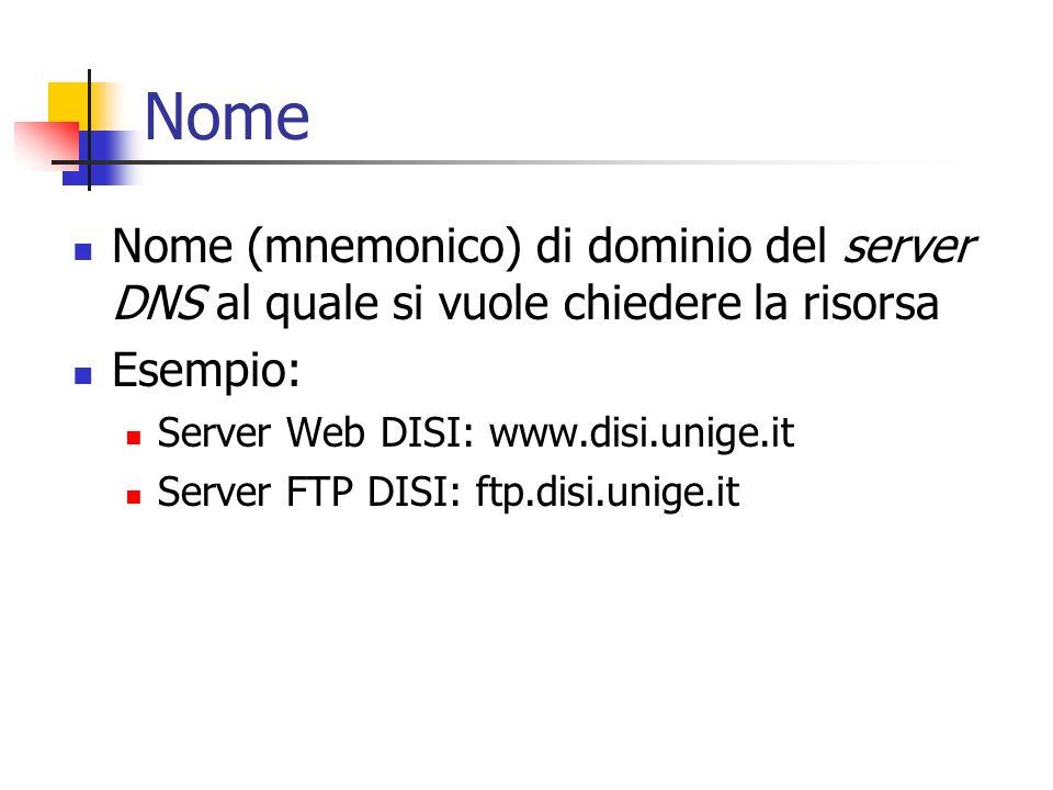 Nome Nome (mnemonico) di dominio del server DNS al quale si vuole chiedere la risorsa Esempio: Server Web DISI: www.disi.unige.it Server FTP DISI: ftp