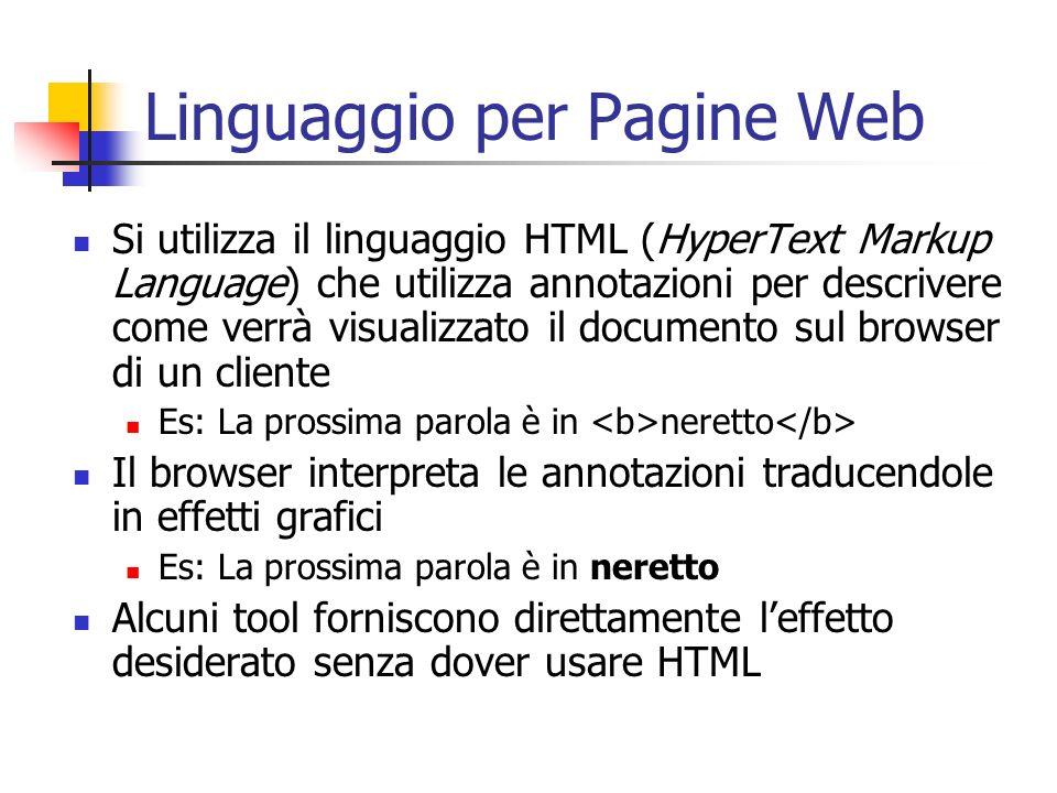 Linguaggio per Pagine Web Si utilizza il linguaggio HTML (HyperText Markup Language) che utilizza annotazioni per descrivere come verrà visualizzato i
