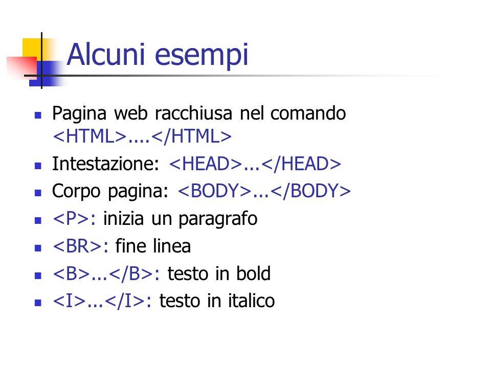 Alcuni esempi Pagina web racchiusa nel comando.... Intestazione:... Corpo pagina:... : inizia un paragrafo : fine linea... : testo in bold... : testo