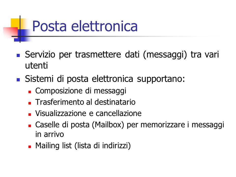 Posta elettronica Servizio per trasmettere dati (messaggi) tra vari utenti Sistemi di posta elettronica supportano: Composizione di messaggi Trasferim