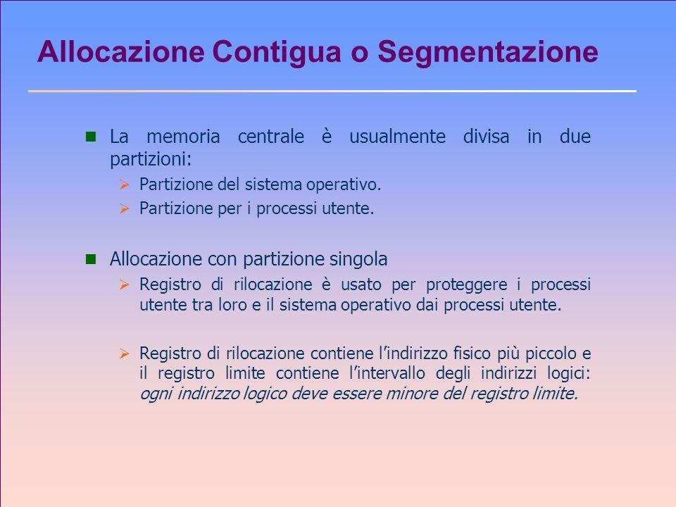 Allocazione Contigua o Segmentazione n La memoria centrale è usualmente divisa in due partizioni: Partizione del sistema operativo. Partizione per i p