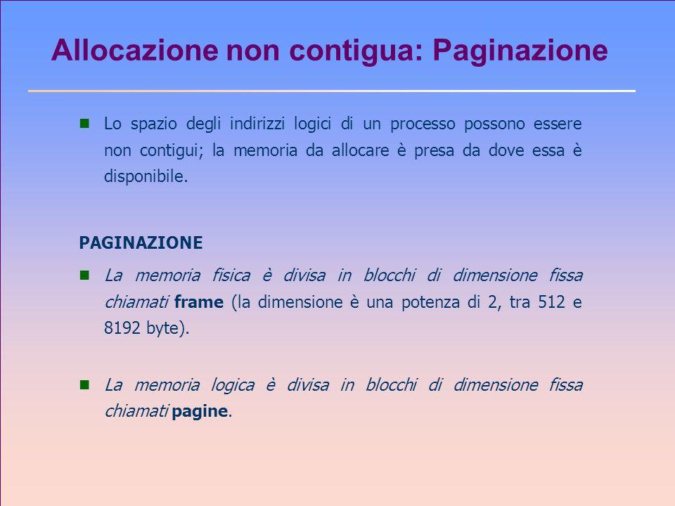 Allocazione non contigua: Paginazione n Lo spazio degli indirizzi logici di un processo possono essere non contigui; la memoria da allocare è presa da