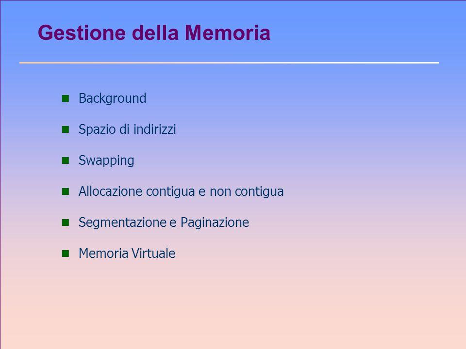 Gestione della Memoria n Background n Spazio di indirizzi n Swapping n Allocazione contigua e non contigua n Segmentazione e Paginazione n Memoria Vir