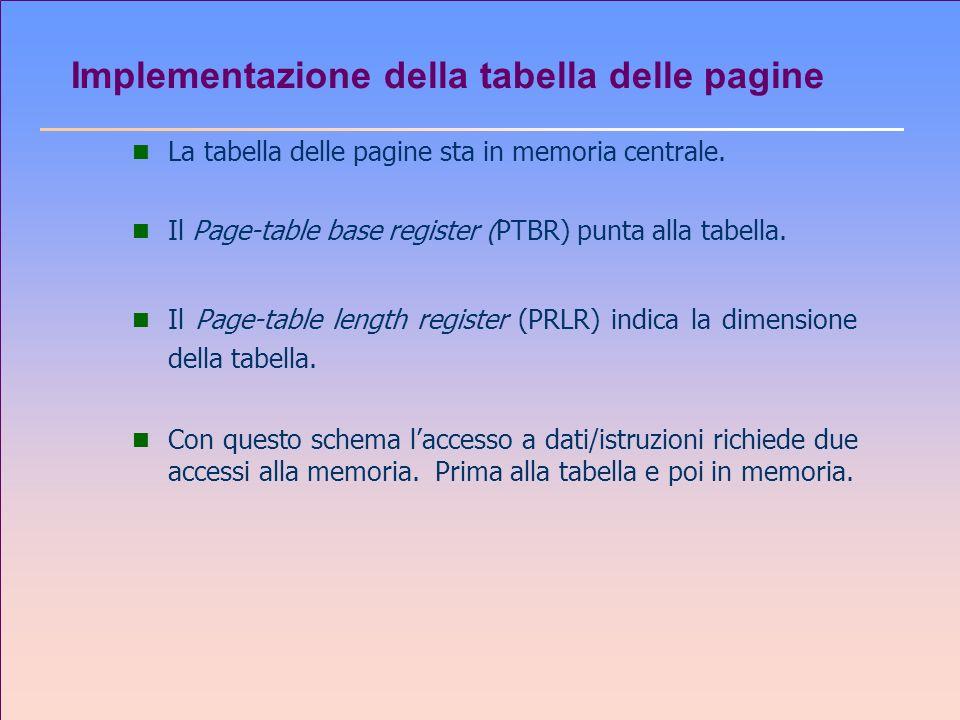 Implementazione della tabella delle pagine n La tabella delle pagine sta in memoria centrale. n Il Page-table base register (PTBR) punta alla tabella.