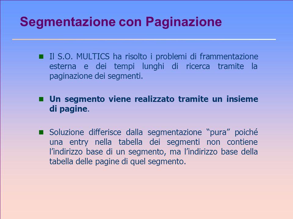 Segmentazione con Paginazione n Il S.O. MULTICS ha risolto i problemi di frammentazione esterna e dei tempi lunghi di ricerca tramite la paginazione d