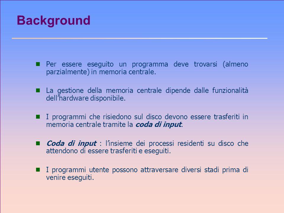 Background n Per essere eseguito un programma deve trovarsi (almeno parzialmente) in memoria centrale. n La gestione della memoria centrale dipende da