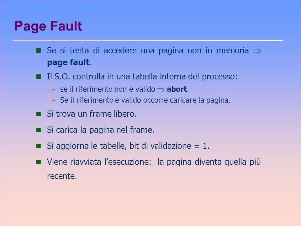 Page Fault n Se si tenta di accedere una pagina non in memoria page fault. n Il S.O. controlla in una tabella interna del processo: se il riferimento