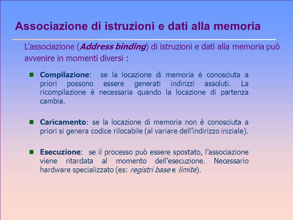 Allocazione non contigua: Paginazione n Lo spazio degli indirizzi logici di un processo possono essere non contigui; la memoria da allocare è presa da dove essa è disponibile.