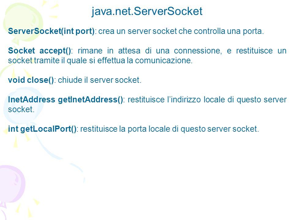 java.net.ServerSocket ServerSocket(int port): crea un server socket che controlla una porta. Socket accept(): rimane in attesa di una connessione, e r