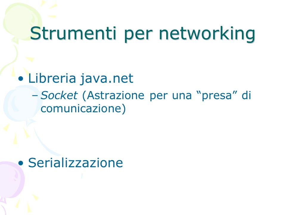 Strumenti per networking Libreria java.net –Socket (Astrazione per una presa di comunicazione) Serializzazione