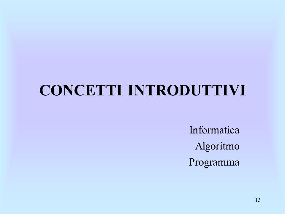 13 Informatica Algoritmo Programma CONCETTI INTRODUTTIVI