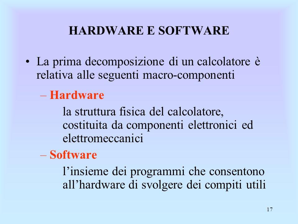 17 HARDWARE E SOFTWARE La prima decomposizione di un calcolatore è relativa alle seguenti macro-componenti –Hardware la struttura fisica del calcolatore, costituita da componenti elettronici ed elettromeccanici –Software linsieme dei programmi che consentono allhardware di svolgere dei compiti utili