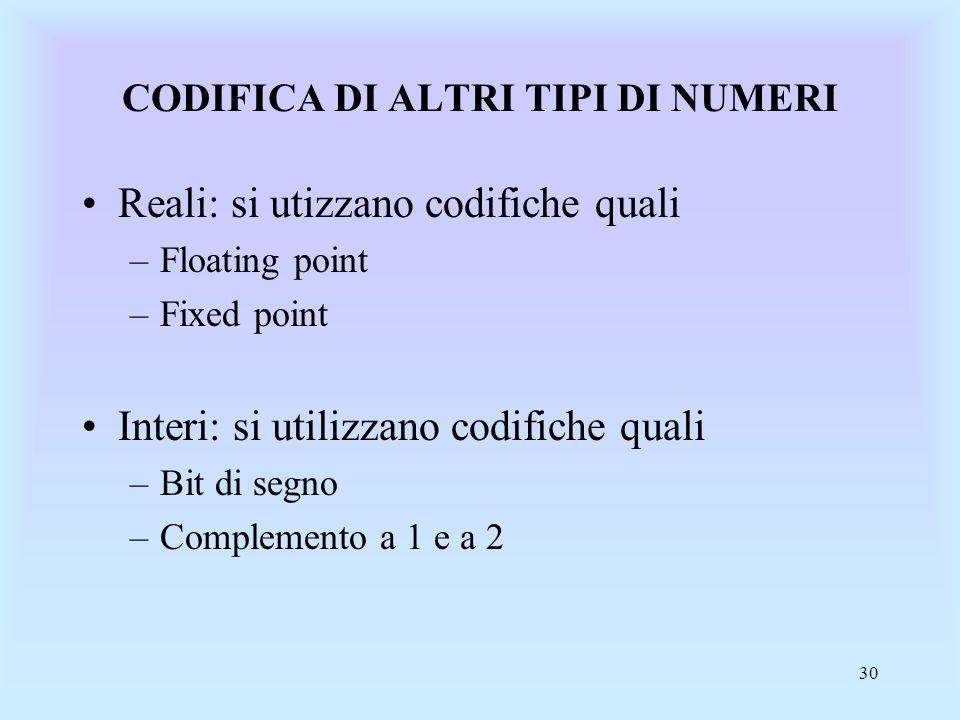 30 CODIFICA DI ALTRI TIPI DI NUMERI Reali: si utizzano codifiche quali –Floating point –Fixed point Interi: si utilizzano codifiche quali –Bit di segno –Complemento a 1 e a 2