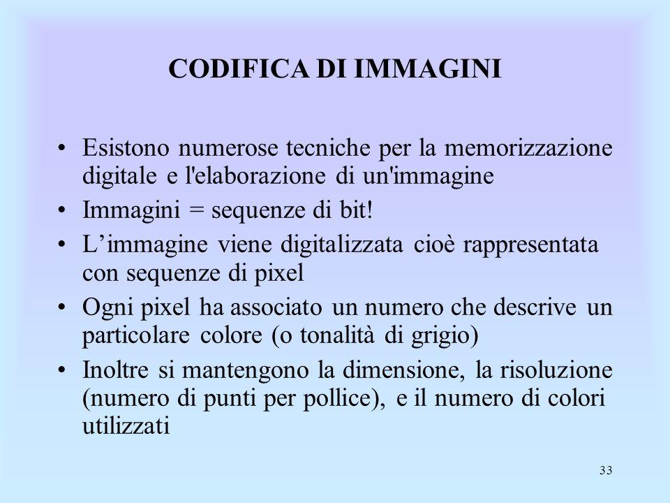 33 CODIFICA DI IMMAGINI Esistono numerose tecniche per la memorizzazione digitale e l elaborazione di un immagine Immagini = sequenze di bit.
