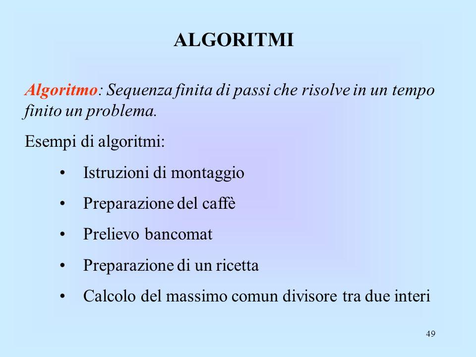 49 ALGORITMI Algoritmo: Sequenza finita di passi che risolve in un tempo finito un problema.