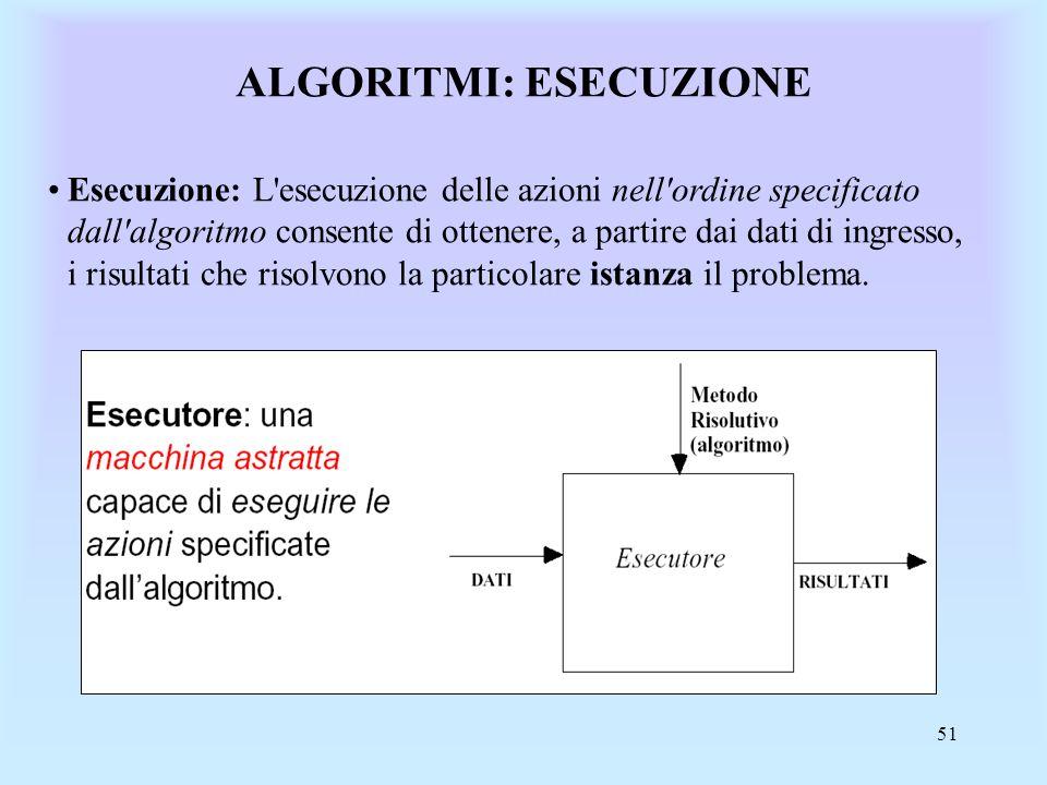 51 ALGORITMI: ESECUZIONE Esecuzione: L esecuzione delle azioni nell ordine specificato dall algoritmo consente di ottenere, a partire dai dati di ingresso, i risultati che risolvono la particolare istanza il problema.