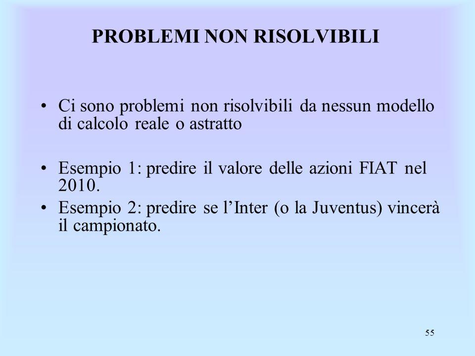 55 PROBLEMI NON RISOLVIBILI Ci sono problemi non risolvibili da nessun modello di calcolo reale o astratto Esempio 1: predire il valore delle azioni FIAT nel 2010.
