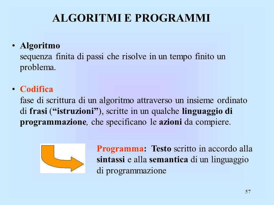 57 ALGORITMI E PROGRAMMI Algoritmo sequenza finita di passi che risolve in un tempo finito un problema.