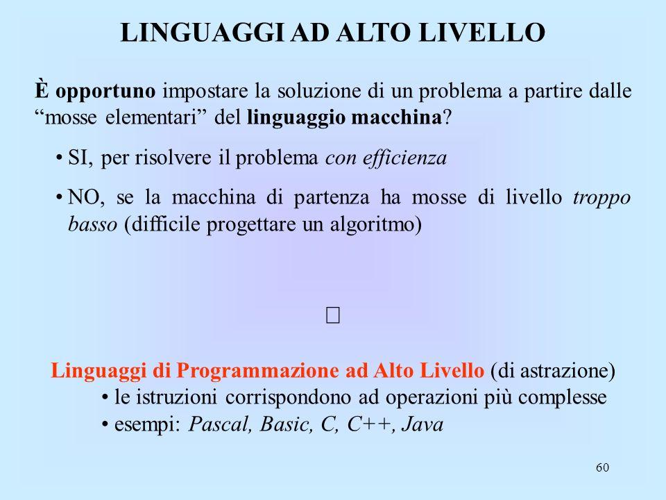 60 LINGUAGGI AD ALTO LIVELLO È opportuno impostare la soluzione di un problema a partire dalle mosse elementari del linguaggio macchina.