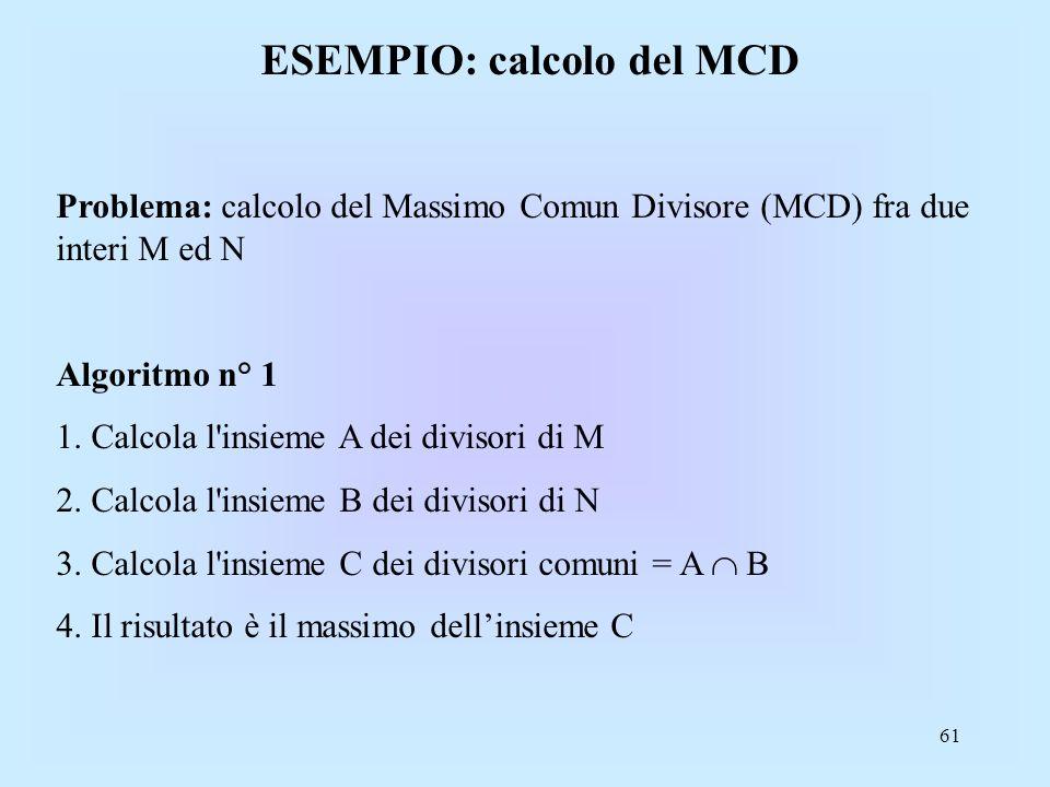 61 ESEMPIO: calcolo del MCD Problema: calcolo del Massimo Comun Divisore (MCD) fra due interi M ed N Algoritmo n° 1 1.