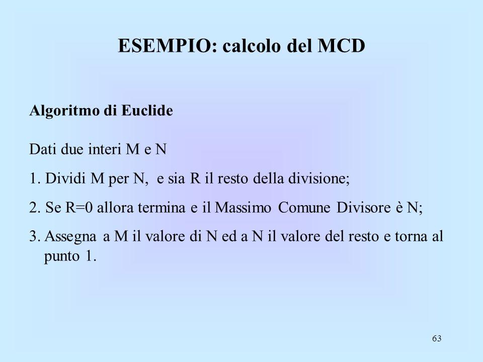 63 ESEMPIO: calcolo del MCD Algoritmo di Euclide Dati due interi M e N 1.