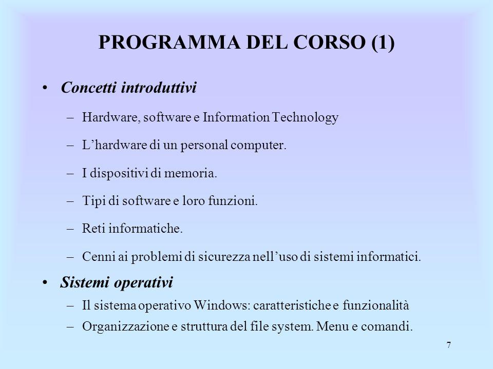 8 PROGRAMMA DEL CORSO (2) Strumenti di utilità personale –Sistemi di video scrittura (Word: caratteristiche e comandi principali) –Fogli elettronici (Excel) Reti informatiche –Concetti di Internet.