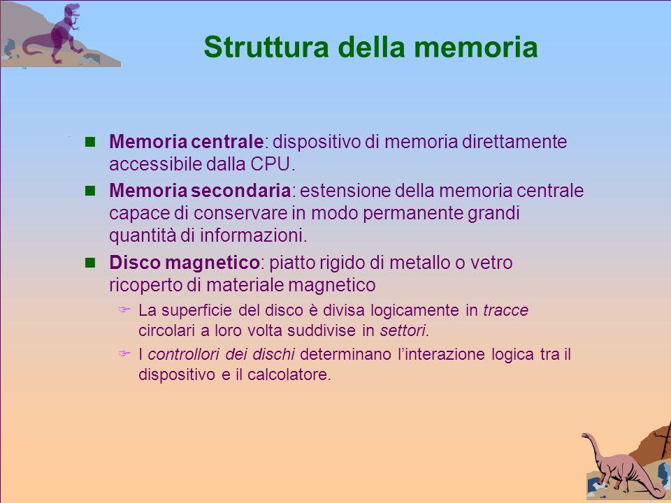 Struttura della memoria Memoria centrale: dispositivo di memoria direttamente accessibile dalla CPU.