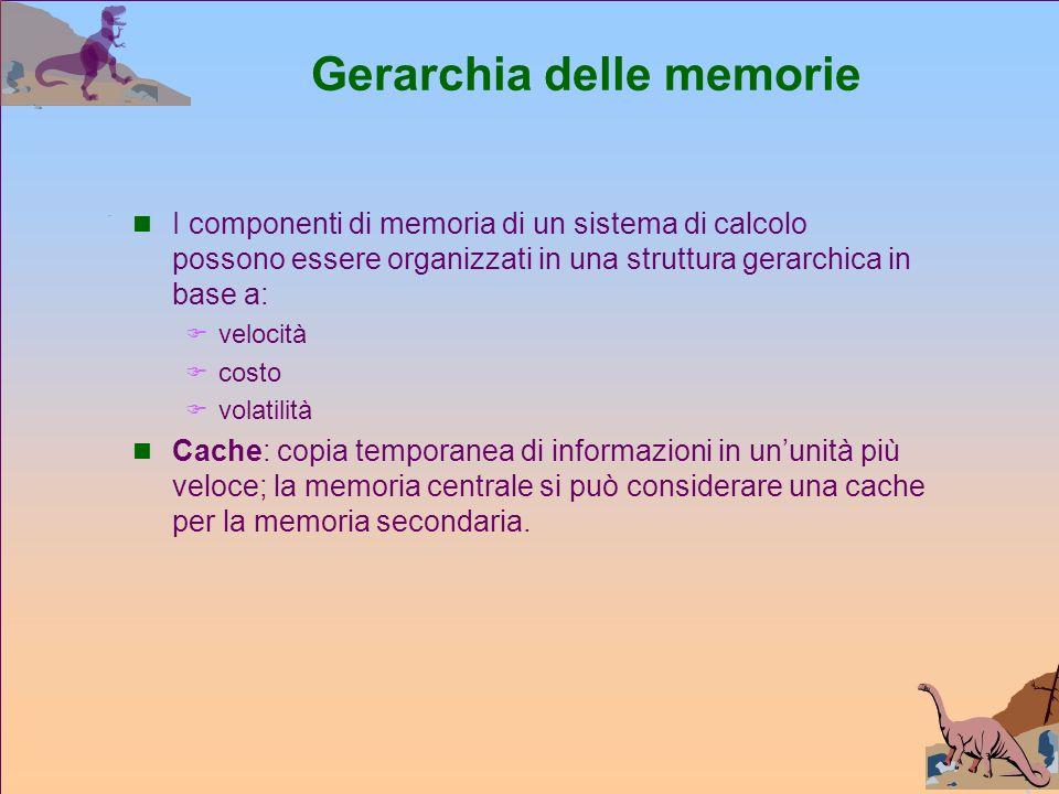 Gerarchia delle memorie I componenti di memoria di un sistema di calcolo possono essere organizzati in una struttura gerarchica in base a: velocità costo volatilità Cache: copia temporanea di informazioni in ununità più veloce; la memoria centrale si può considerare una cache per la memoria secondaria.
