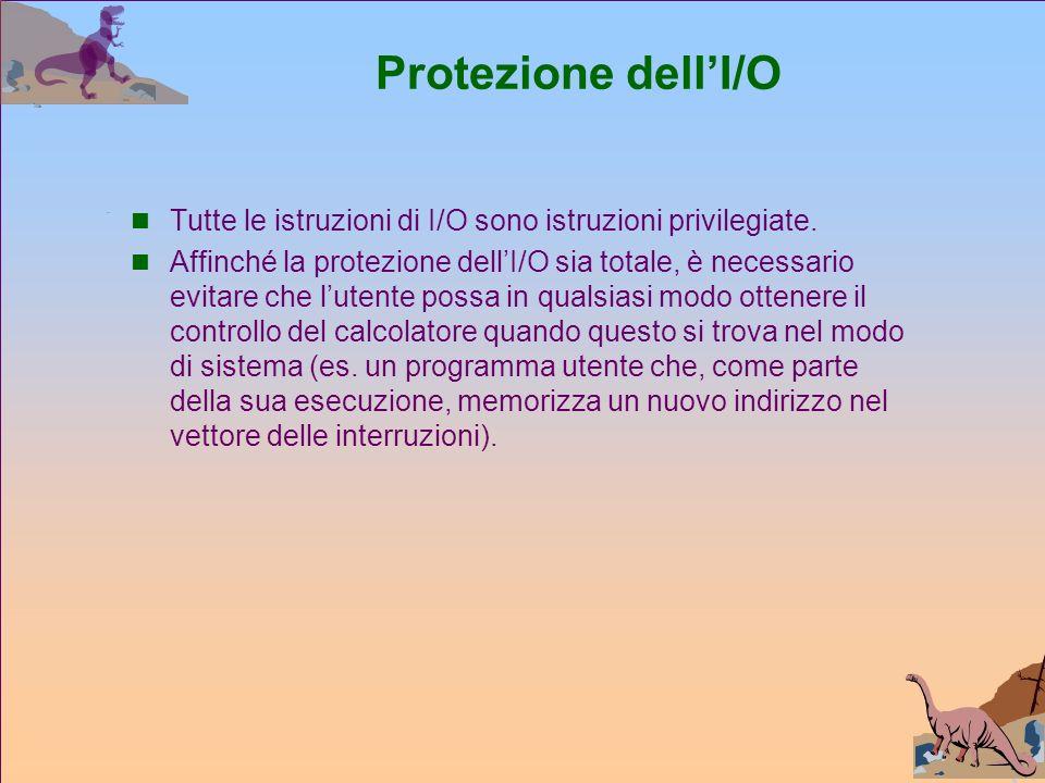Protezione dellI/O Tutte le istruzioni di I/O sono istruzioni privilegiate.