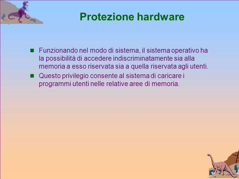 Protezione hardware Funzionando nel modo di sistema, il sistema operativo ha la possibilità di accedere indiscriminatamente sia alla memoria a esso riservata sia a quella riservata agli utenti.
