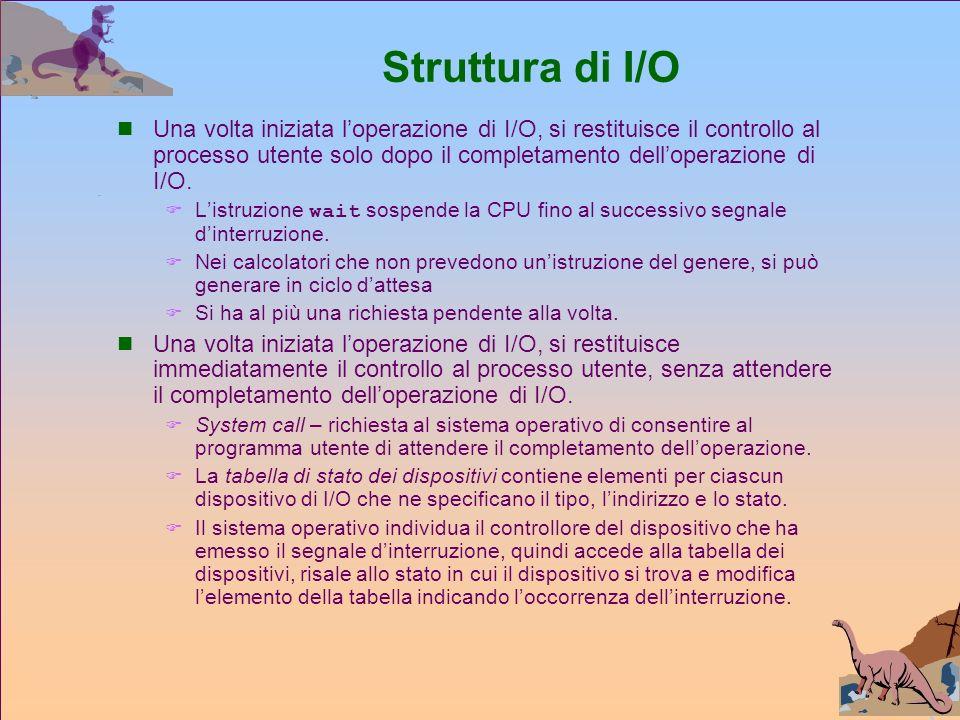 Struttura di I/O Una volta iniziata loperazione di I/O, si restituisce il controllo al processo utente solo dopo il completamento delloperazione di I/O.
