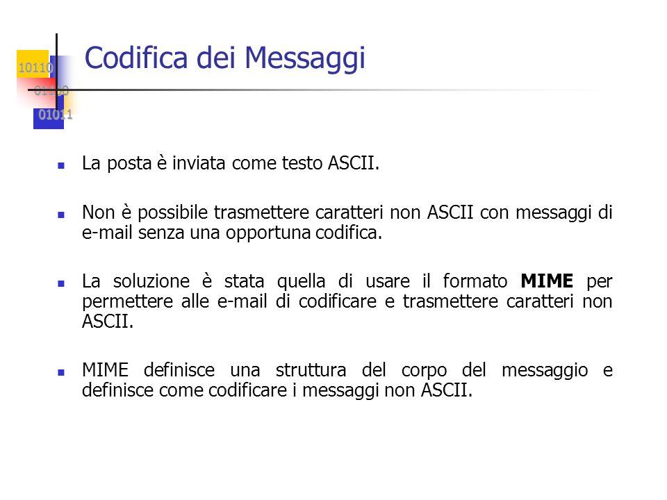 10110 01100 01100 01011 01011 Codifica dei Messaggi La posta è inviata come testo ASCII. Non è possibile trasmettere caratteri non ASCII con messaggi