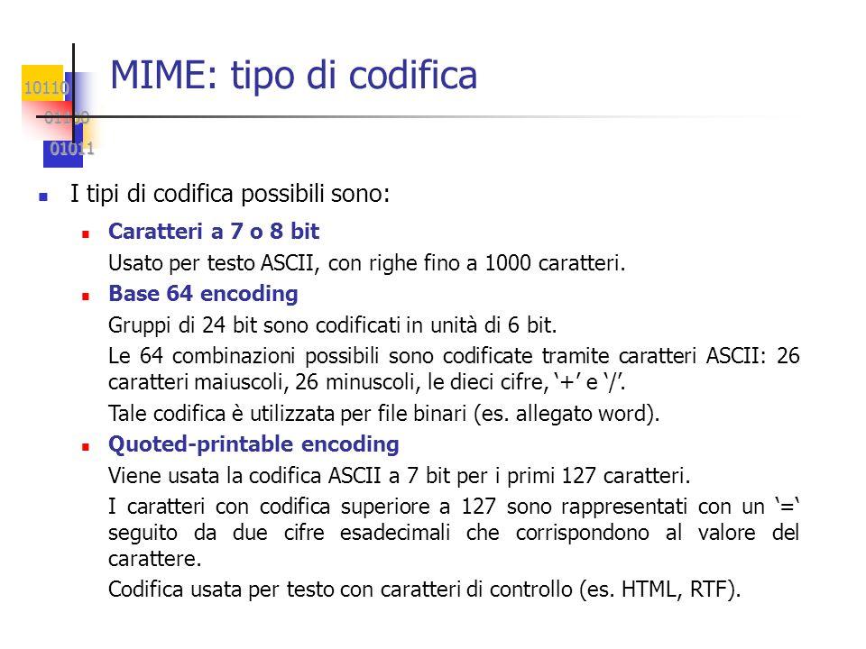 10110 01100 01100 01011 01011 MIME: tipo di codifica I tipi di codifica possibili sono: Caratteri a 7 o 8 bit Usato per testo ASCII, con righe fino a