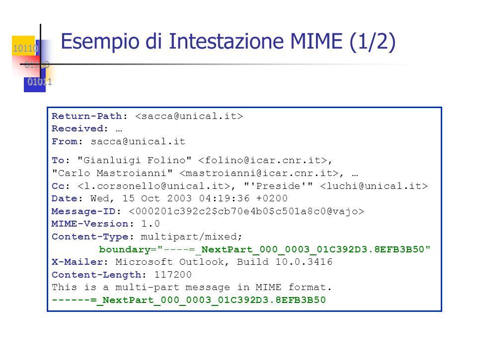 10110 01100 01100 01011 01011 Esempio di Intestazione MIME (1/2) Return-Path: Received: … From: sacca@unical.it To: