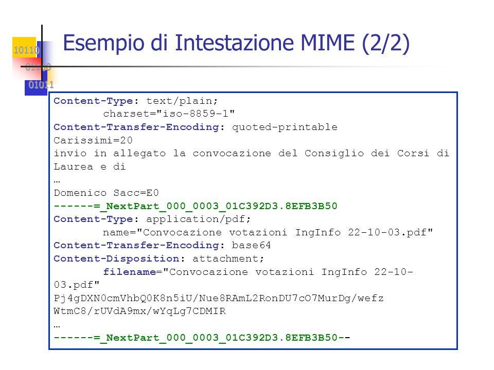 10110 01100 01100 01011 01011 Esempio di Intestazione MIME (2/2) Content-Type: text/plain; charset=