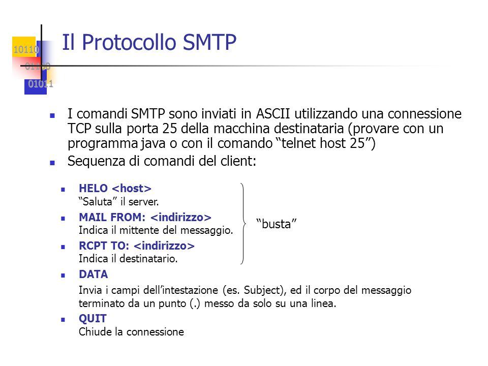 10110 01100 01100 01011 01011 I comandi SMTP sono inviati in ASCII utilizzando una connessione TCP sulla porta 25 della macchina destinataria (provare