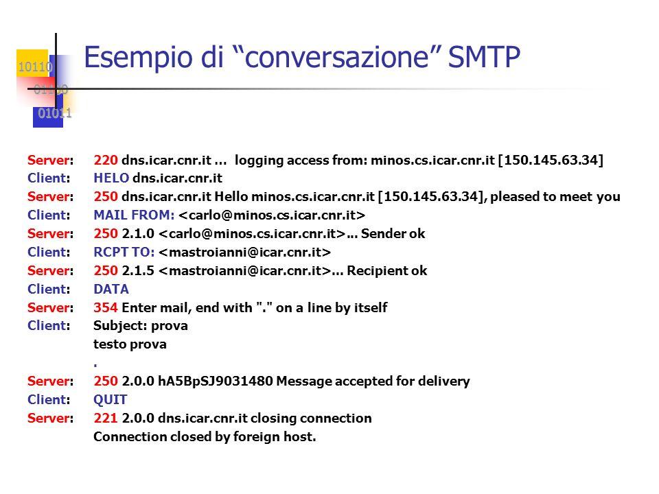 10110 01100 01100 01011 01011 Esempio di conversazione SMTP Server:220 dns.icar.cnr.it … logging access from: minos.cs.icar.cnr.it [150.145.63.34] Cli